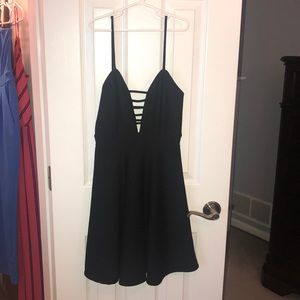 Fit and Flare low cut black dress